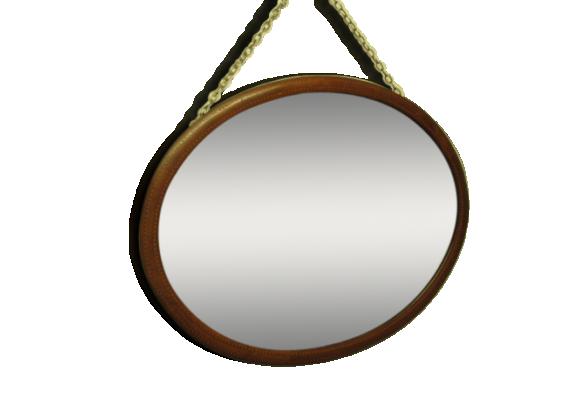 Miroir bois oval for Miroir long bois