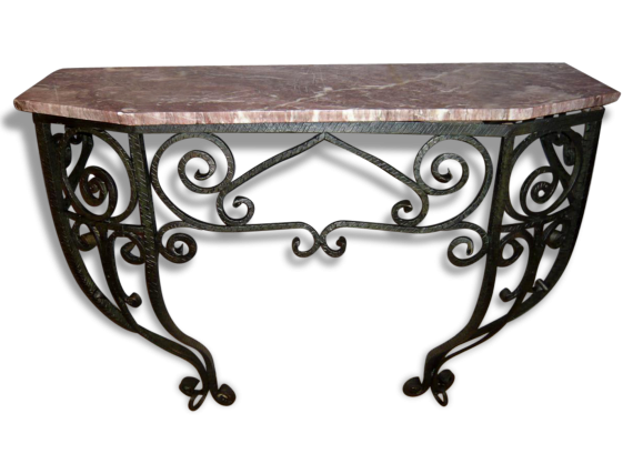Meuble console noire for Console murale fer forge