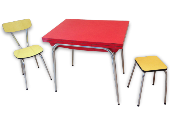 Table cuisine formica for Ensemble table et chaise transparent