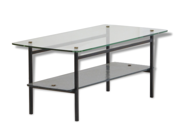 Table basse double plateau en verre for Table rotin et verre
