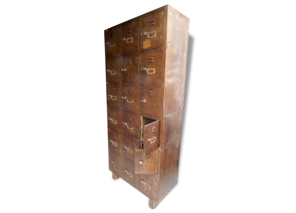 Armoire industriel achat vente de armoire pas cher - Patine meuble metal ...