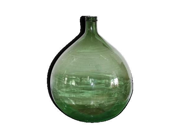 tr s ancienne dame jeanne 60l verte superbe tat avec cadre acier verre et cristal vert. Black Bedroom Furniture Sets. Home Design Ideas