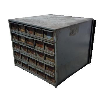 Meuble de m tier comptoir tabli vintage d 39 occasion for Meuble bois tiroirs casiers