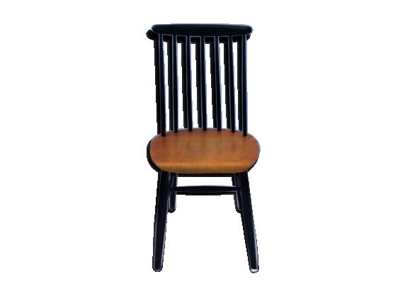 Chaise 7 barreaux 1960 bois mat riau noir bon for Chaise a barreaux