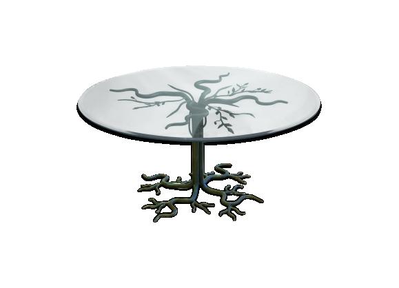 Table basse brutaliste 'arbre' en fer forgé