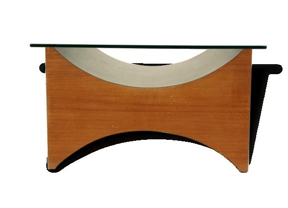 Table basse en bois et verre Exposition Universelle 1967 Montreal