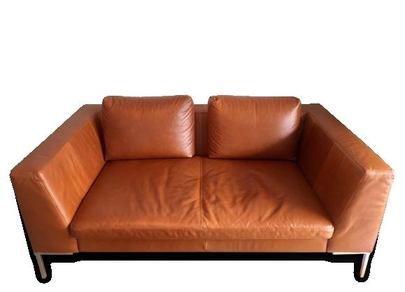 Canapé inspiration années 50 en cuir cognac