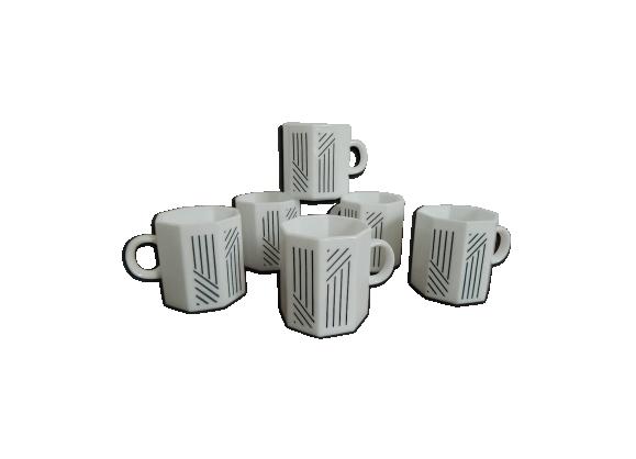 6 tasses à café expresso Octime couleur blanche vintage 70