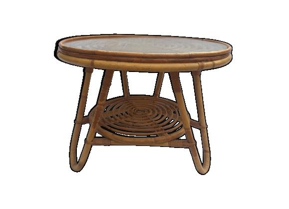 Table ronde basse double plateau rotin