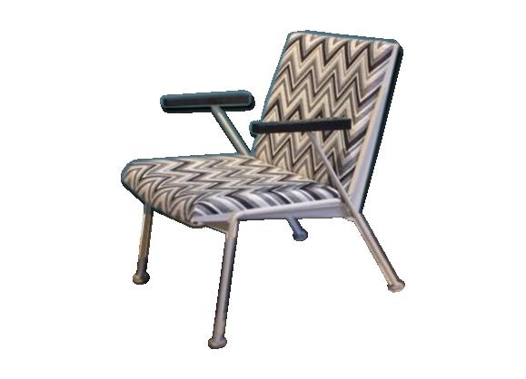 chaise oase par wim rietveld pour ahrend de cirkel 1958 tissu gris bon tat vintage. Black Bedroom Furniture Sets. Home Design Ideas