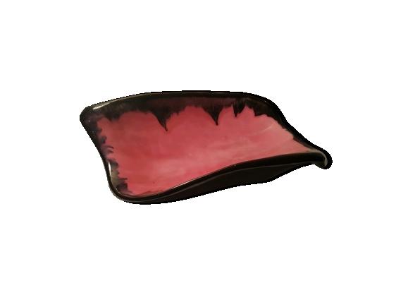Coupe à fruits style vallauris rose et noire vintage 60's
