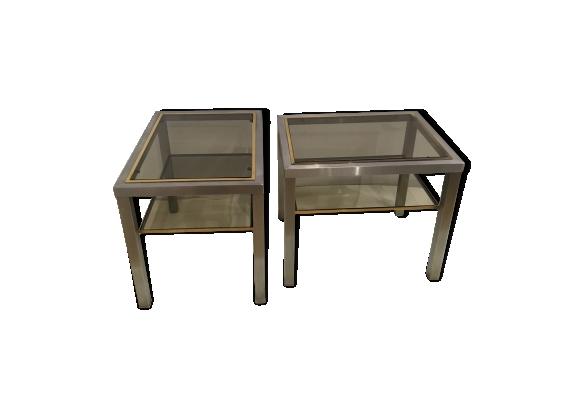 Table d'appoint en aluminium brossé 1970