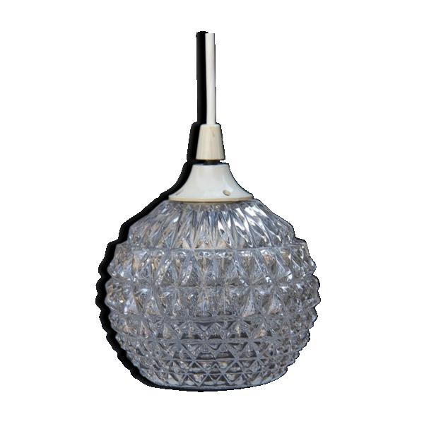 suspension motif pomme de pins verre et cristal. Black Bedroom Furniture Sets. Home Design Ideas