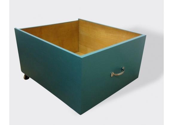 grande caisse de rangement roulettes bois mat riau bleu bon tat classique 2826. Black Bedroom Furniture Sets. Home Design Ideas