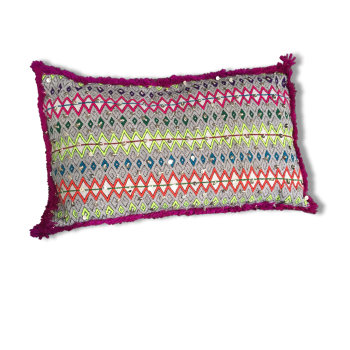 Coussin kilim berbère multicolore vintage