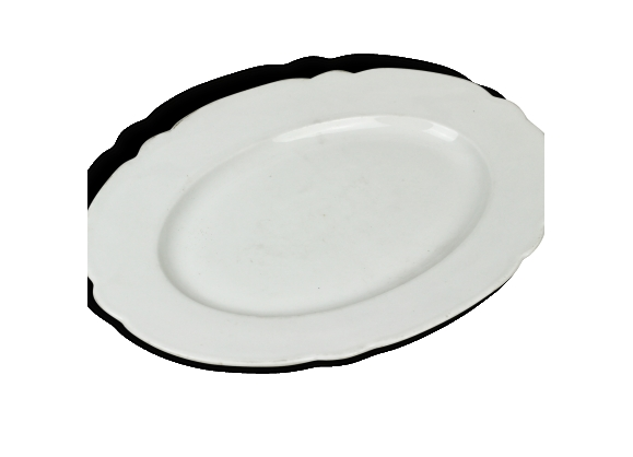 Grand plat ancien porcelaine blanche