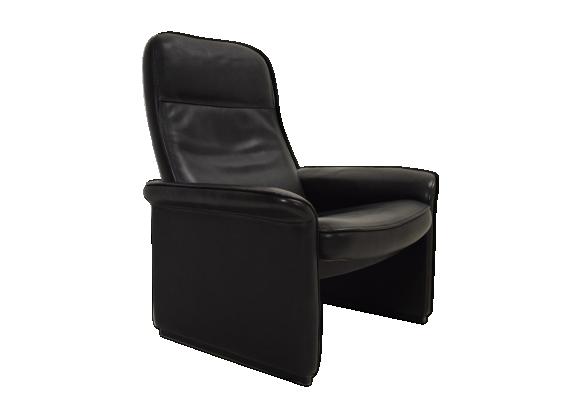 Fauteuil relax cuir noir De Sede années 70-80 vintage design