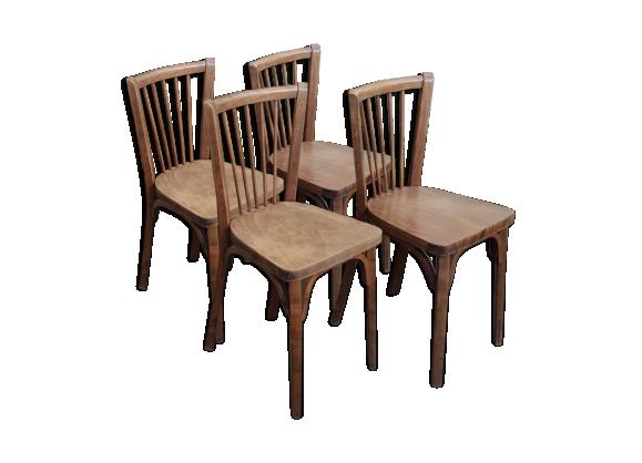 S rie 4 chaises bistrot baumann bois mat riau marron for Chaise bistrot baumann prix