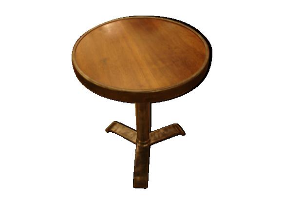 table gu ridon de bistrot en acier poli et bois de noyer vers 1950 fer marron bon tat. Black Bedroom Furniture Sets. Home Design Ideas