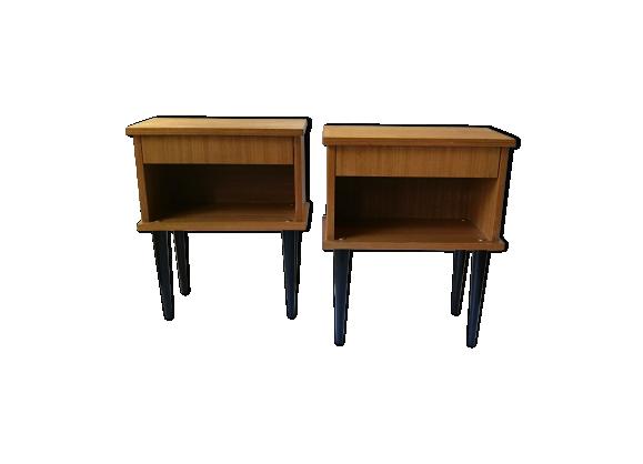paire de table de chevet ann es 60 en ch ne clair bois mat riau marron bon tat. Black Bedroom Furniture Sets. Home Design Ideas