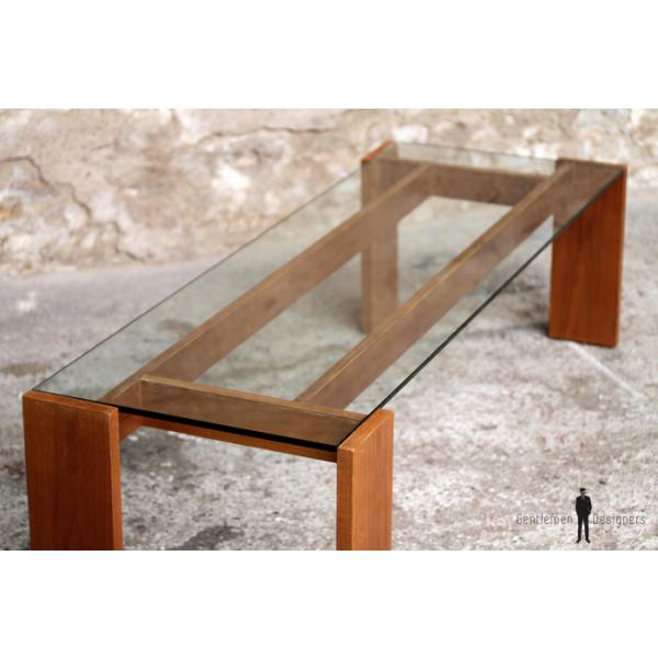 table basse vintage en teck et verre transparente verre et cristal transparent bon tat. Black Bedroom Furniture Sets. Home Design Ideas