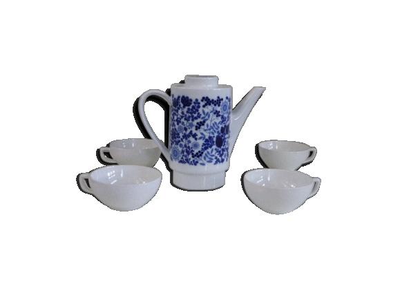 Cafetière Melitta et ses 4 tasses en porcelaine blanche vintage 1970