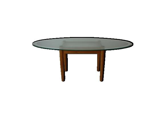 Table ovale en bois et verre design années 80