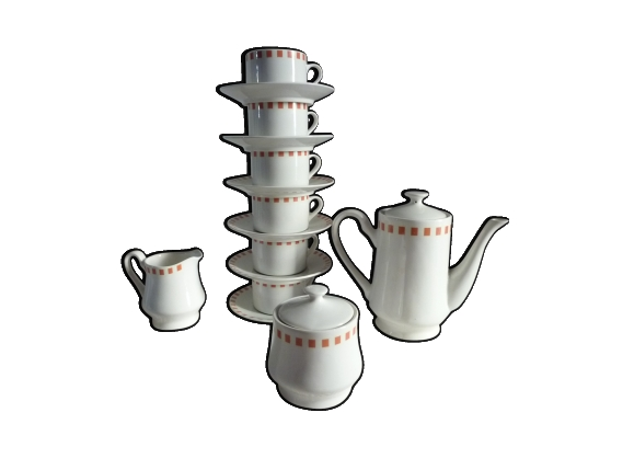 Service à thé/café en porcelaine à motif Lustucru