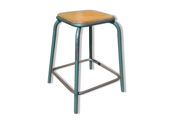 tabouret d 39 atelier ann es 60 m tal vert dans son jus industriel. Black Bedroom Furniture Sets. Home Design Ideas