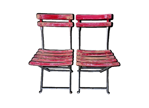 Paire de chaises pliantes métal & bois