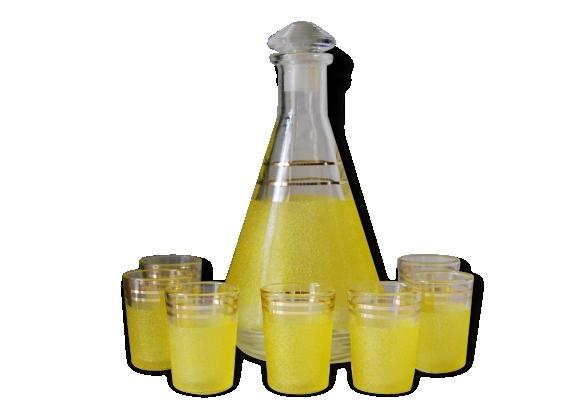 Service à liqueur en verre granité vintage