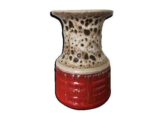 Vase céramique West Germany multicolore années 50 60