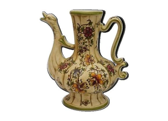 Cruche en céramique au motif floral peint à la main
