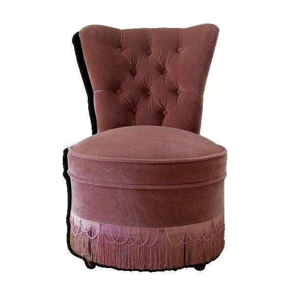 fauteuil crapaud velours rose poudr bois mat riau rose bon tat vintage. Black Bedroom Furniture Sets. Home Design Ideas