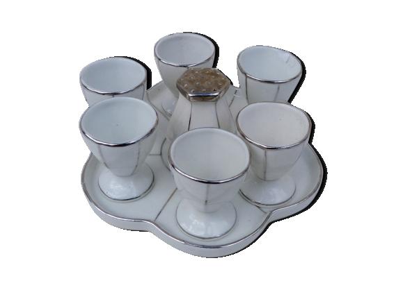Service oeufs coque art deco porcelaine blanche et argent