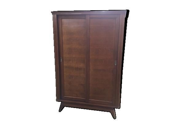 armoire vintage 1950 pieds compas portes coulissantes bois mat riau bois couleur bon. Black Bedroom Furniture Sets. Home Design Ideas