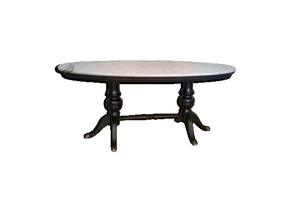 table ovale en marbre et bois pieds de laiton marbre. Black Bedroom Furniture Sets. Home Design Ideas