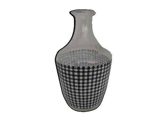 Carafe en verre pied de poule noir et blanc