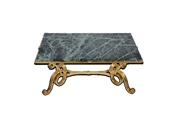 Table basse des années 40 support redoré et dessus marbre
