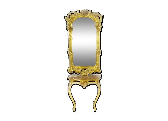 Console et miroir avec dessus en marbre de style Louis XV