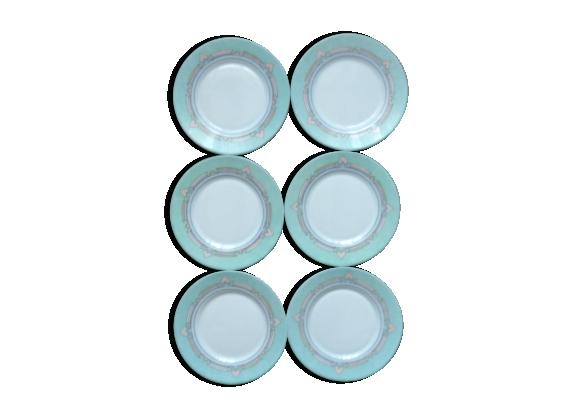 Enssemble de 6 assiettes à dessert Esso décor géométrique pastel