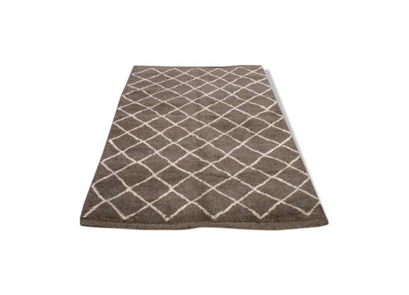 tapis beni ouarain gris marron 240x150 cm tissu gris bon tat thnique. Black Bedroom Furniture Sets. Home Design Ideas