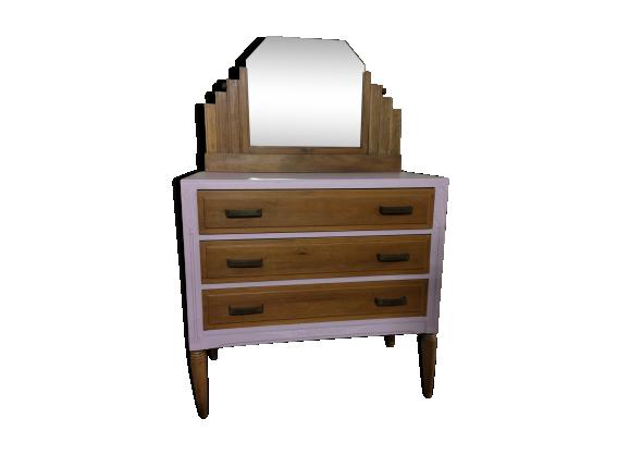 commode coiffeuse art d co bois mat riau rose bon tat art d co. Black Bedroom Furniture Sets. Home Design Ideas