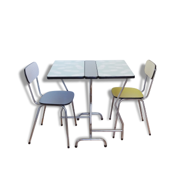 Table en formica vintage d 39 occasion for Ensemble table et chaise transparent