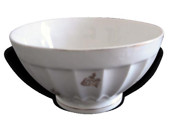 Beau Bol Ancien Porcelaine Blason Compagnie Porcelaine Corps côtélé Alternance Fleurs dorées + feuillage Art déco