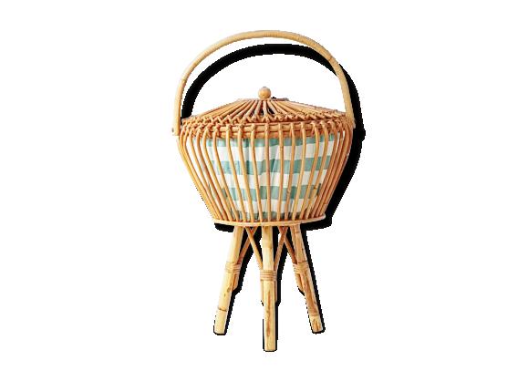 Travailleuse bo te couture 50 39 s tripode rotin bambou for Boite travailleuse