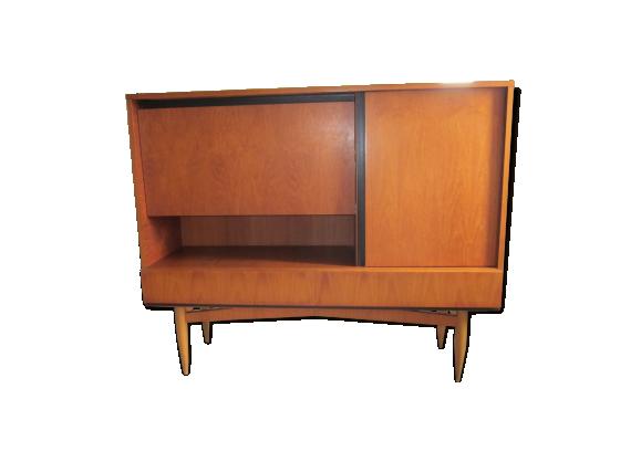 bahut scandinave ann es 60 en teck bois mat riau marron dans son jus scandinave. Black Bedroom Furniture Sets. Home Design Ideas