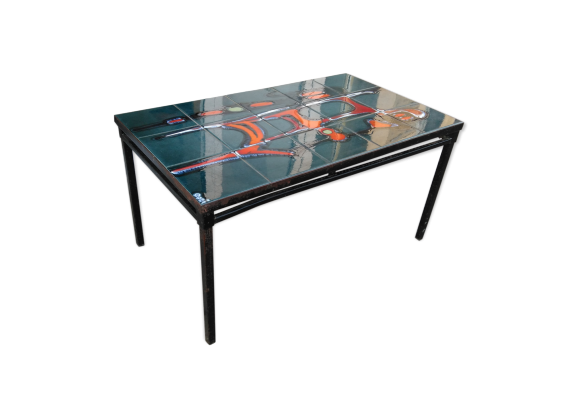 table basse ann es 50 c ramique et acier c ramique porcelaine fa ence multicolore dans. Black Bedroom Furniture Sets. Home Design Ideas