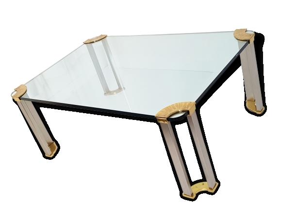 Magnifique & grande table basse de Peter Ghyczy 1970 en verre, laiton doré massif et acier brossé vintage seventies 70's
