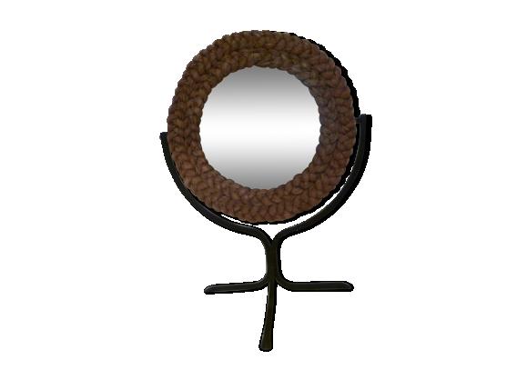 miroir psych corde rotin et osier noir dans son jus vintage. Black Bedroom Furniture Sets. Home Design Ideas